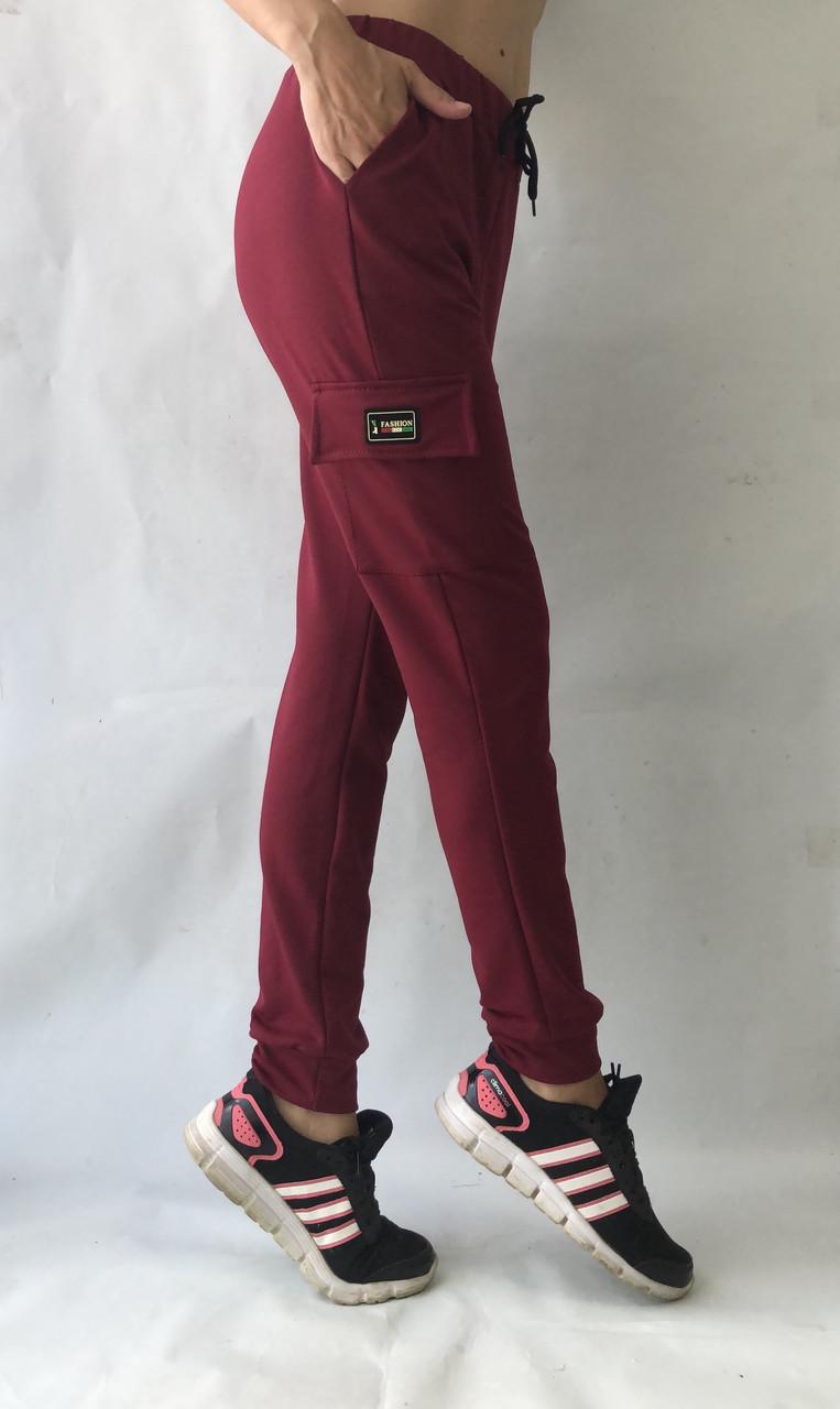 Спортивные брюки с накладными карманами N° 125 бордовый