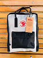 Качественный школьный рюкзак Fjallraven Kanken, стильный рюкзак Канкен Черно голубойй