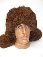 Стильная мужская шапка ушанка - мех кролика