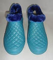 Галош зимний (женский) Эва бирюзовый крок, фото 1