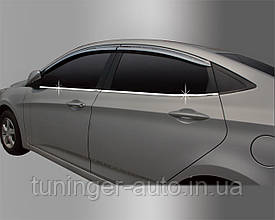 Хром молдинг стекла Hyundai Accent 2011- (Autoclover/Корея B230)