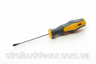 Викрутка шлицевая обгумована рукоятка СrV SL5x100мм (плоска) (двокомпонентна) СИЛА