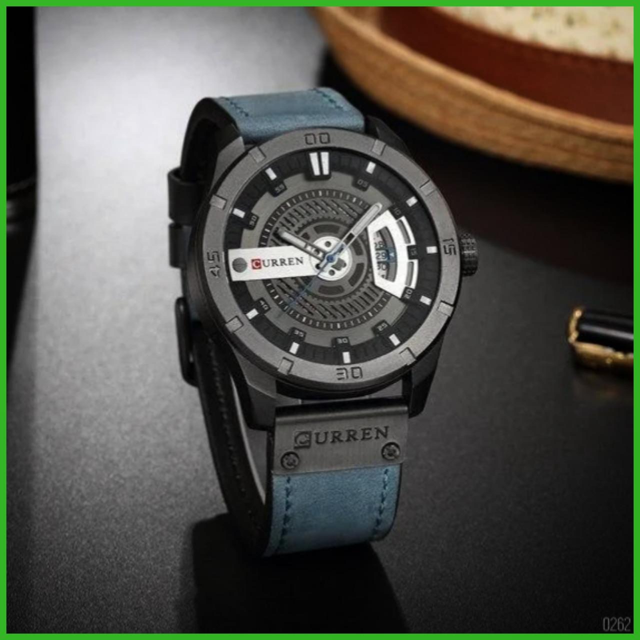Мужские кварцевые наручные часы Curren 8301 Light Blue-Black. Оригинал
