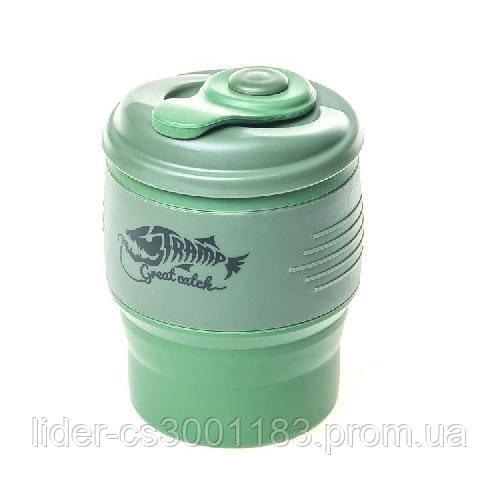 Кружка складная силиконовая с крышкой  Tramp TRC-082-green