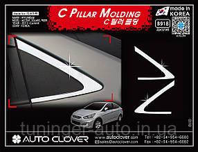 Хром молдинг стекла (уголок) Hyundai Accent 2010-2018 (Autoclover B918)