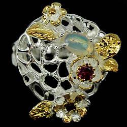 Серебряное кольцо с опалом и родолитом, 2443КЦО