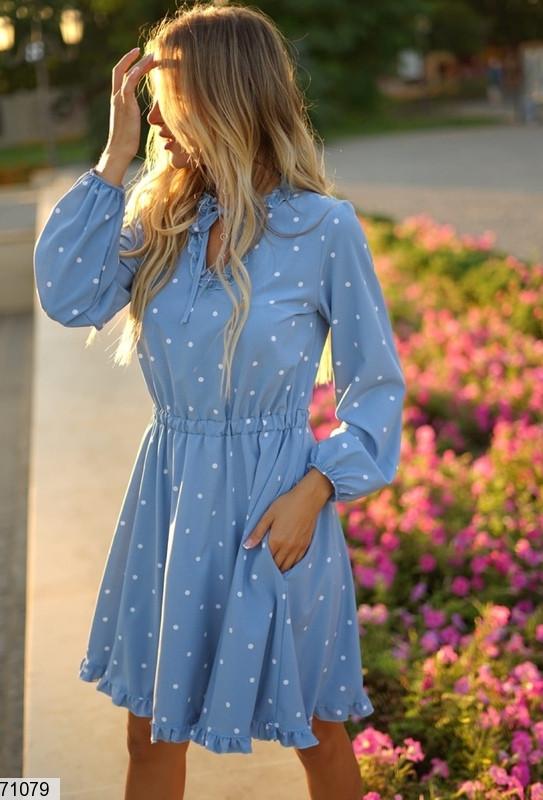 Женское платье в горошек до колен, размеры SМ, ML