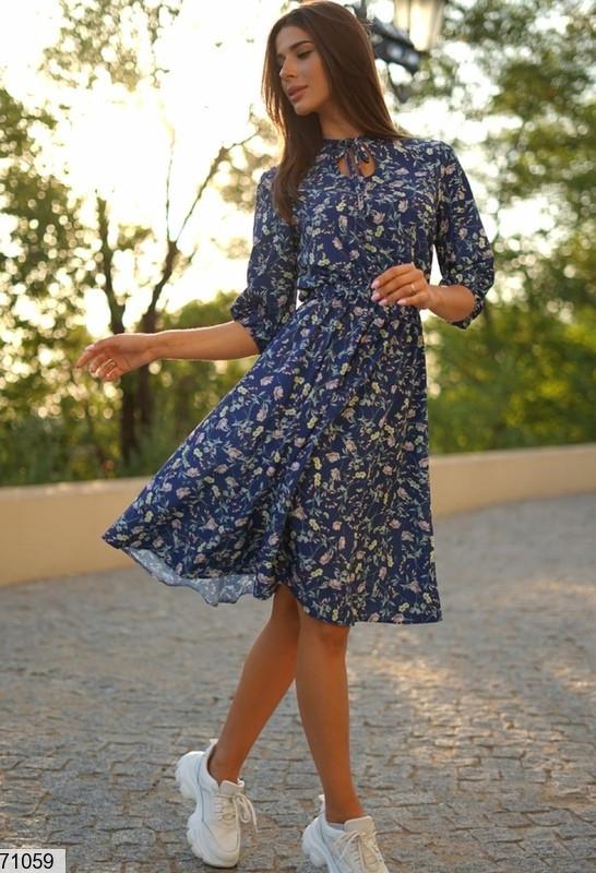 Женское платье кэжуал с цветочным принтом размеры. SM, LXL