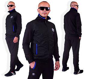 Мужской спортивный трикотажный костюм черный размеры от 46 по 64 размер