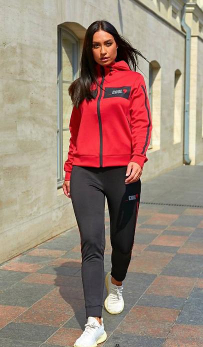 Спортивный костюм красно-черный Minova Размеры: 42.44.46.48.50.52.54.56.