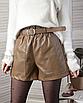 Кожаные шорты с поясом ремнем бежевые светло-коричневые мини с карманами короткие, фото 6