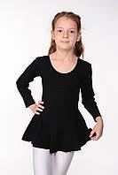 Детский гимнастический купальник с юбкой для танцев хлопок Черный, фото 1