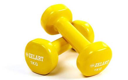 Гантели для фитнеса с виниловым покрытием (2 шт по 1 кг) желтая, фото 2
