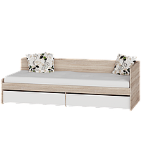 Кровать односпальная соната 800 с двумя ящиками (Дуб сонома+белый)