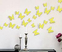 3D бабочки наклейки виниловые на стены в комнаты 12 шт желтые 50-120 мм на двустороннем скотче