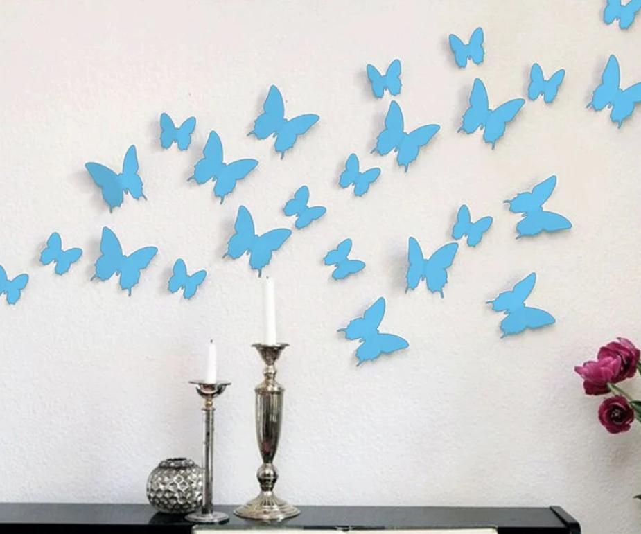 3D бабочки наклейки виниловые на стены в комнаты 12 шт голубые 50-120 мм на двустороннем скотче