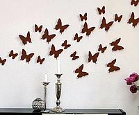 3D бабочки наклейки виниловые на стены в комнаты 12 шт коричневые 50-120 мм на двустороннем скотче