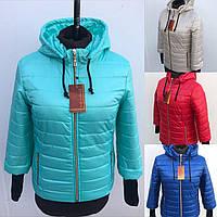 Женская весенняя короткая куртка на синтепоне с рукавом 3/4 в синемцвете 44-54 размеры