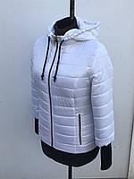 Женская весенняя короткая куртка на синтепоне с рукавом 3/4 в белом цвете 44-54 размеры