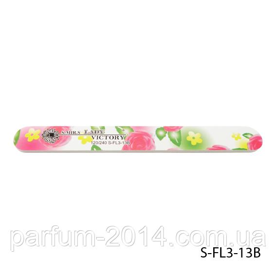 Пилка Lady Victory S-FL3-13B с наждачным напылением, прямая, с аркими розами (120/240)