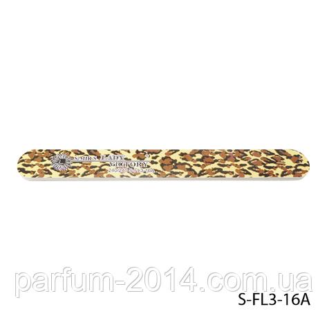 Пилка Lady Victory S-FL3-16A с наждачным напылением, прямая, с принтом леопарда (240/240), фото 2