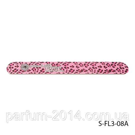 """Пилка Lady Victory S-FL3-08A с наждачным напылением, прямая, с принтом """"розовый леопард"""" (150/180), фото 2"""