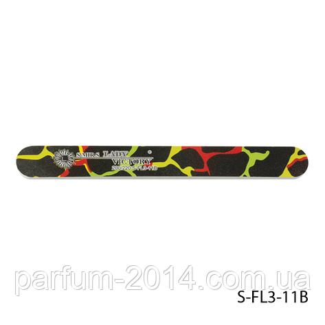 Пилка Lady Victory S-FL3-11B с наждачным напылением, прямая, черная с цветными разводами (200/220), фото 2