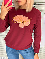 Стильный женский свитшот на осень с принтом из двунитки арт 113