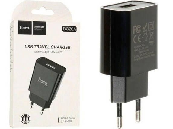 Мережевий зарядний пристрій HOCO DC20A 2.1 A / 1 порт USB (Black), фото 2