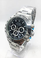 Мужские наручные часы Rolex (Ролекс), цвет серебро с черным циферблатом ( код: IBW186SB )