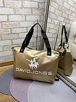 Небольшая дорожная сумка спортивная брендовая золото кожзам