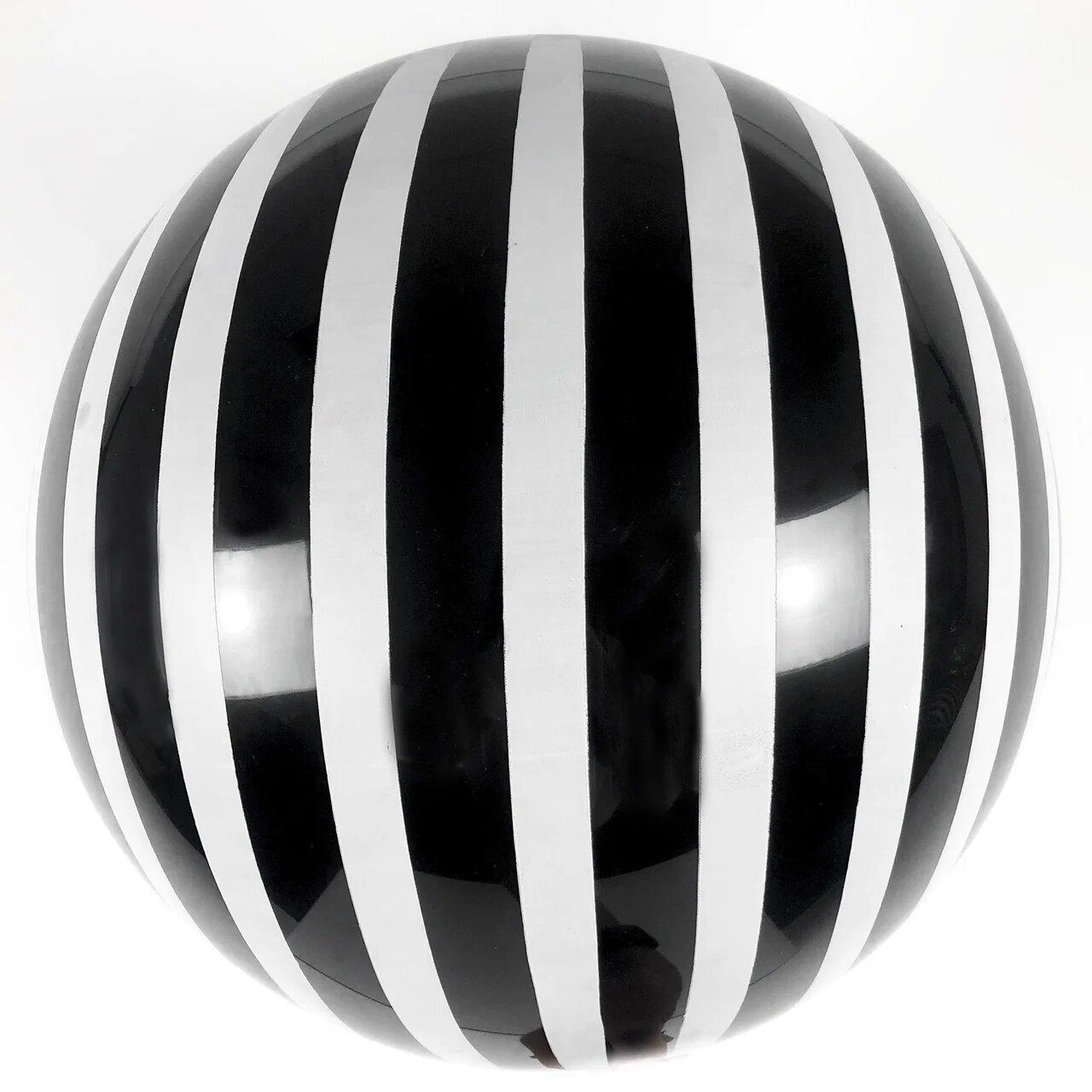 """Шар 18""""/45см Бабл Bubble пастель черный с белыми полосами (Китай)"""