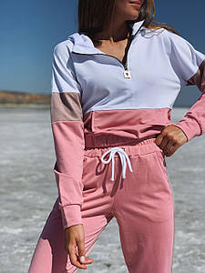Спортивный женский костюм с укороченной кофтой 42-48 (в расцветках)