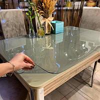 Силиконовое мягкое стекло Прозрачная защитная скатерть для стола и мебели Soft Glass (1.4х1.0м) толщина 2 мм