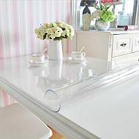 Силиконовое мягкое стекло Прозрачная защитная скатерть для стола и мебели Soft Glass (2.4х1.0м) толщина 1.5мм