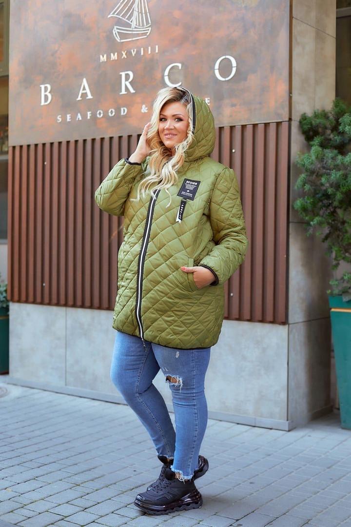 48-66 размер Женская демисезонная куртка больших размеров, 48-50