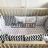 Защита-бортики подушки и простынь на резинке, черно-белая с надписями, фото 1