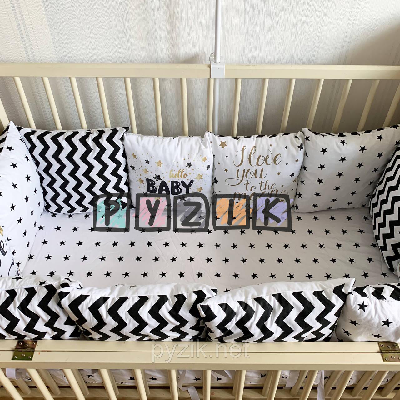 Защита-бортики подушки и простынь на резинке, черно-белая с надписями