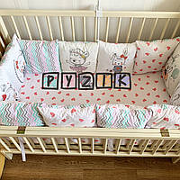 Защита-бортики подушки и простынь на резинке, зверюшки с сердечками, фото 1
