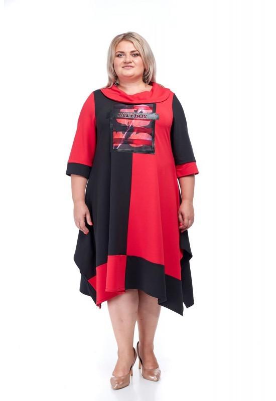 Красивое женское платье Озорница красны+черный (64-74)