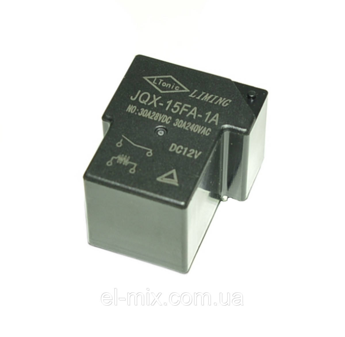 Реле 12V 1группа  JQX-15FA-1A (30A 240VАС) 4pin off-on Liming  PRE0011