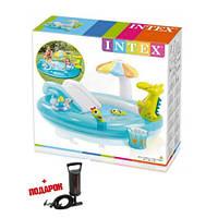Детский надувной бассейн с горкой Intex 57165 - Надувной игровой центр Аллигаторр