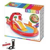 Детский надувной бассейн с горкой Intex 57163 Надувной игровой центр Дракон