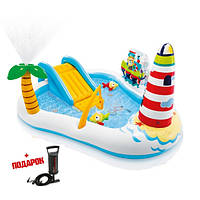 Детский надувной бассейн с горкой Intex 57162 Веселая рыбалка