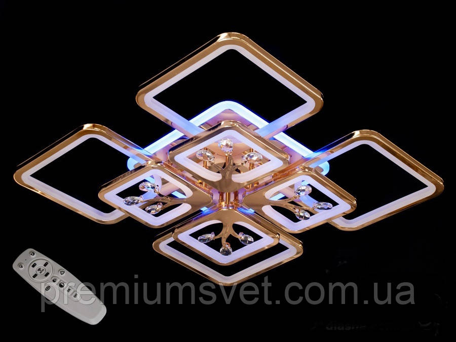 Люстра стельова світлодіодна, колір золото 8157/4+4 G LED 3color dimmer