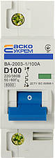 Автоматичний вимикач УКРЕМ ВА-2003/D 1р 100А АСКО, фото 3