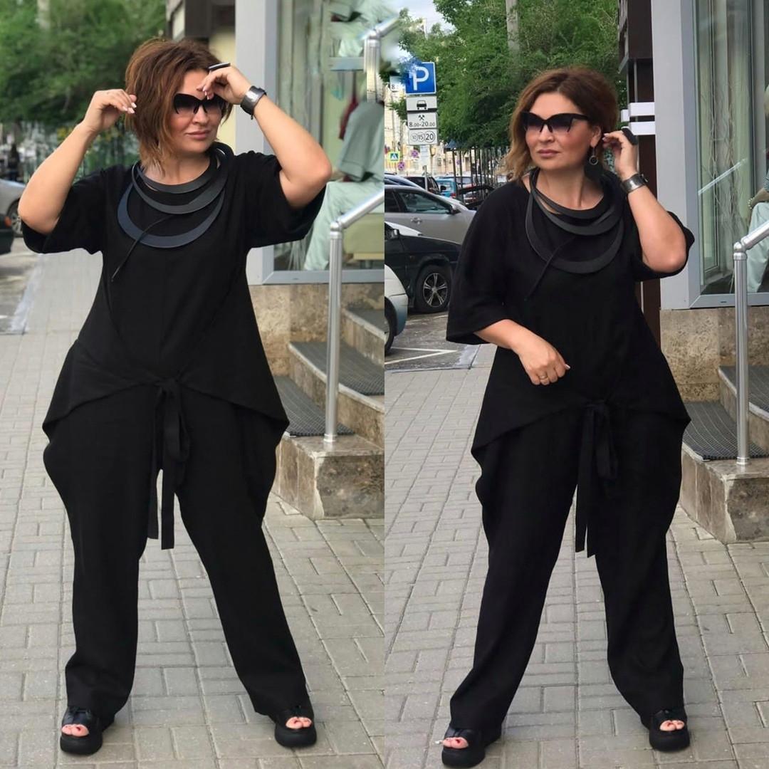 Костюм брючный женский большого размера черный лен, Женский брючный льняной костюм с кофтой черный