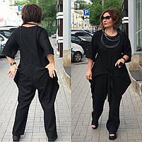 Костюм брючный женский большого размера черный лен, Женский брючный льняной костюм с кофтой черный, фото 2