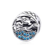 "Шарм ""Море и чайки"" серебро 925 проба, кубический цирконий"
