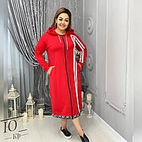 Кофта- Худи женская длинная большого размера двухнить,  Женская кофта-худи из двухнити с длинными рукавами Производство Украина, фото 2